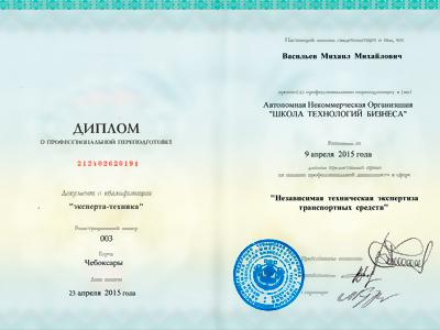 Диплом о профессиональной переподготовке в сфере независимая экспертиза траспортных средств